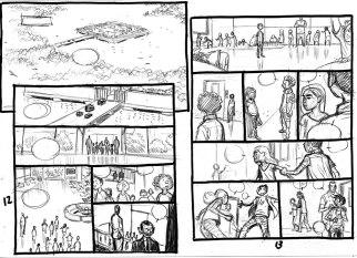 Storyboard des planches 12 et 13 du tome 2(c) Mathieu Reynès