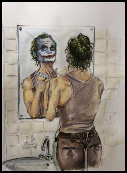Sur son Tumblr, il n'est pas rare que Corentin réalise des fan art, comme ce Joker. © Corentin Lecorsier