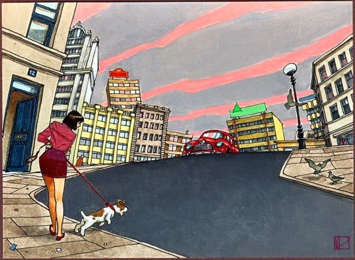 """""""El coche rojo"""" © Miguelanxo Prado"""