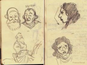 Chevalier Brayard - zidrou - Francis Porcel - visages carnet de notes