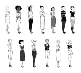 Travail de charac-design sur des personnages féminins pour le court-métrage Long live New York de Cédric Witz pour la sensibilisation au don d'organe © Gijé