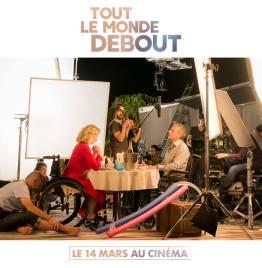 Tout le monde debout - film - handicap - humour - romance - Franck Dubosc - Alexandra Lamy - diner aux chandelles - chaise roulante - making of