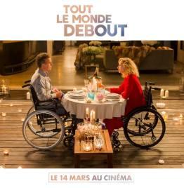 Tout le monde debout - film - handicap - humour - romance - Franck Dubosc - Alexandra Lamy - diner aux chandelles - chaise roulante