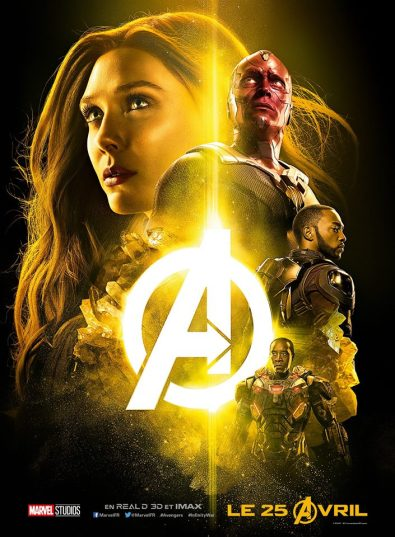 AVENGERS INFINITY WAR - Joe - Anthony RUsso - Marvel Universe - affiche jaune
