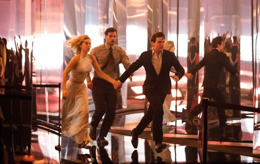 Left to right: Vanessa Kirby, Henry Cavill and Tom Cruise in MISSION: IMPOSSIBLE - FALLOUT, from Paramount Pictures and Skydance.