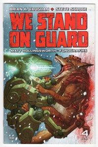 We stand on guard - Brian K. Vaughan - Steve Skroce - Matt Hollingsworth - guerre USA - canada - or bleu - eau - guerilla - cover 4